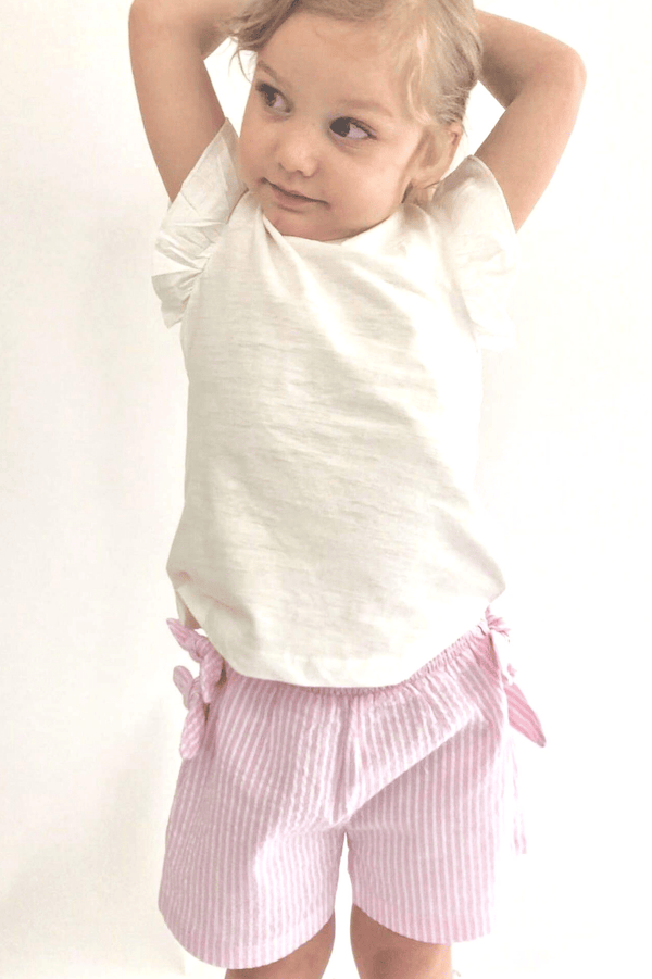 Pink Seersucker Bow Shorts -  Savannah (3-8years) - Cliqq Clothing