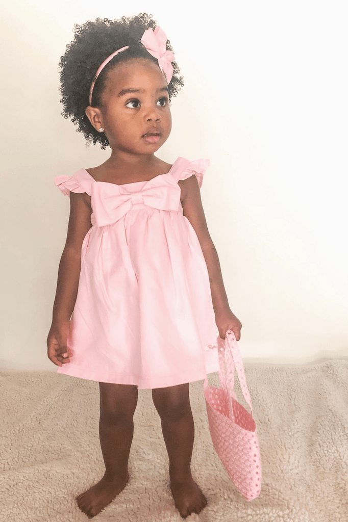 Girl Pink Chambray Dress- The Chloe Dress (NB-24m) - Cliqq Clothing
