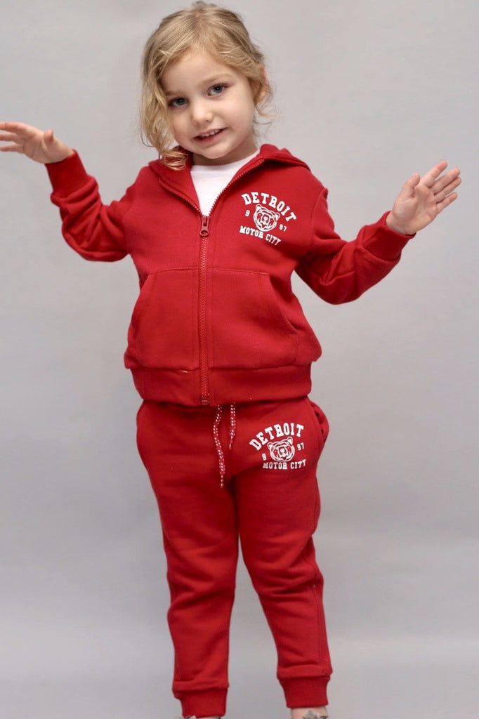 Unisex Red Fleece Jogger & Zip Hoodie Set - Harper (9m-3T) - Cliqq Clothing