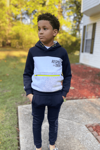 RESPECT CONTRAST PANEL HOODIE - LUCAS (3-8YEARS) - Cliqq Clothing