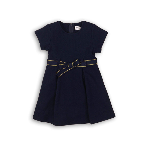 TEXTURED BLUE LUREX DRESS WITH BOW -SAYGE (9m-3T) - Cliqq Clothing