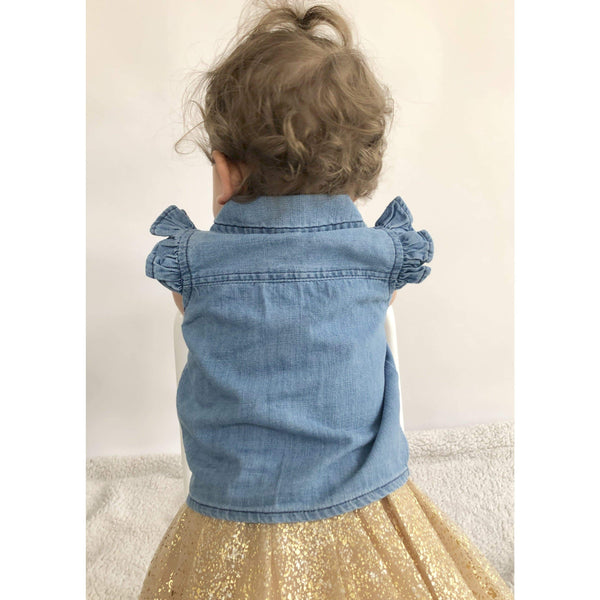 DENIM TIE FRONT TOP (6m-24months) - Cliqq Clothing