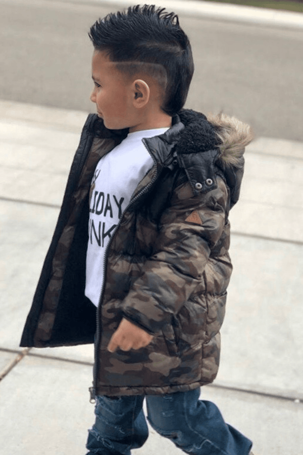 Hooded Camo Puffer Jacket  (3-8years) ACE - Cliqq Clothing