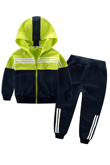 Boy Navy/Lime Zip Hoodie and Pants Set