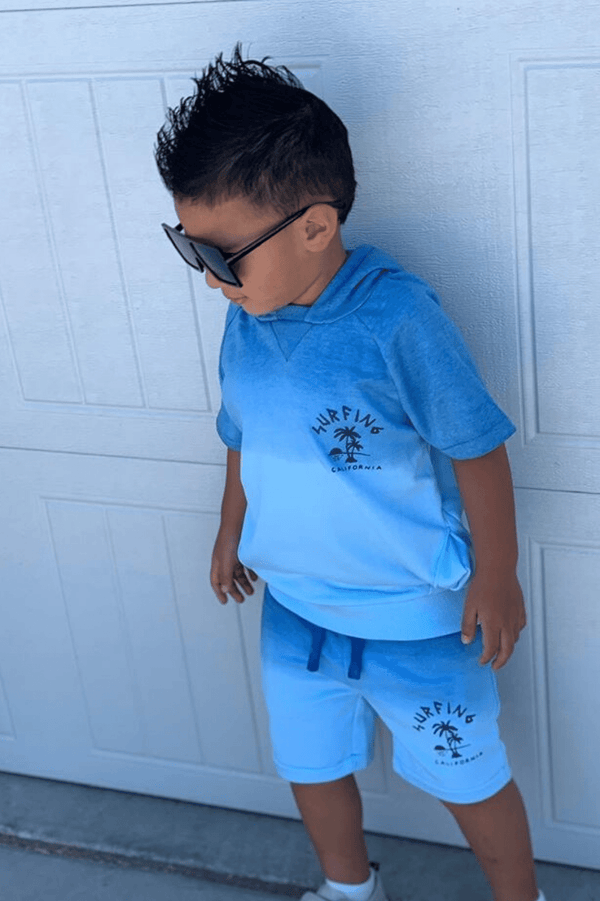 Blue Toddler Boy Tie-dye Hoodie Sweatshirt and Shorts Set | 9m-8years