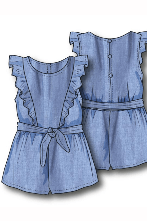 Toddler Girls' Chambray Romper | 3-8years