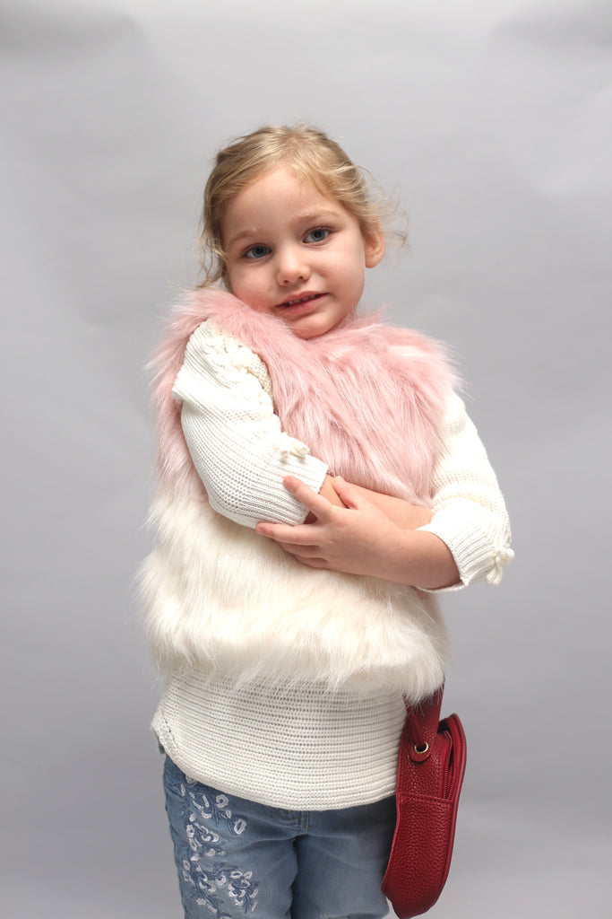 PINK GRADIENT FAUX-FUR VEST - WILLOW (9m-8years) - Cliqq Clothing