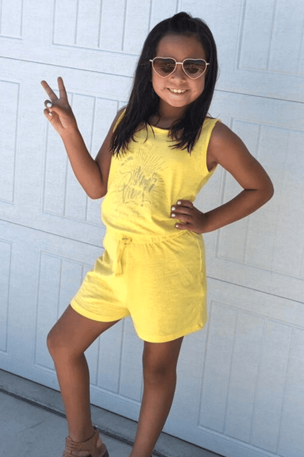 Yellow Toddler Girl Playsuit |  Zoe Summer Vibes |3-8yrs - Cliqq Clothing