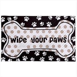 """Wipe Your Paws"" Embossed  Door Mat (Bone)"