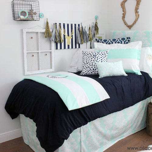 Mint & Navy Dorm Room