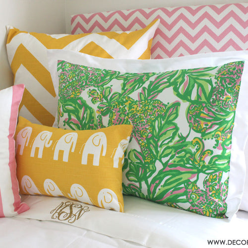 Preppy Pink and Green Lilly Bedding