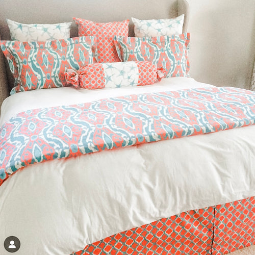 Coral and Blue Coastal Bedding