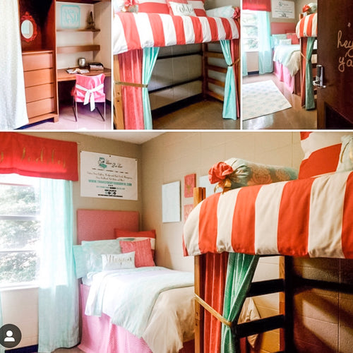 Coral and Mint Dorm Bedding and Decor
