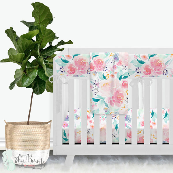 Bright and Beautiful Watercolor Floral Baby Crib Rail Cover