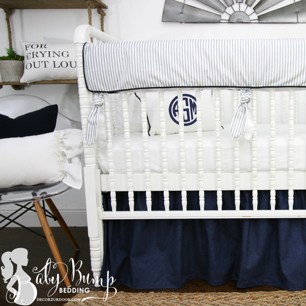 Farmhouse Navy & White Ticking Stripe Baby Crib Rail Cover
