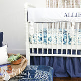 Navy & White Ombre Tribal Gender Neutral Crib Bedding Set