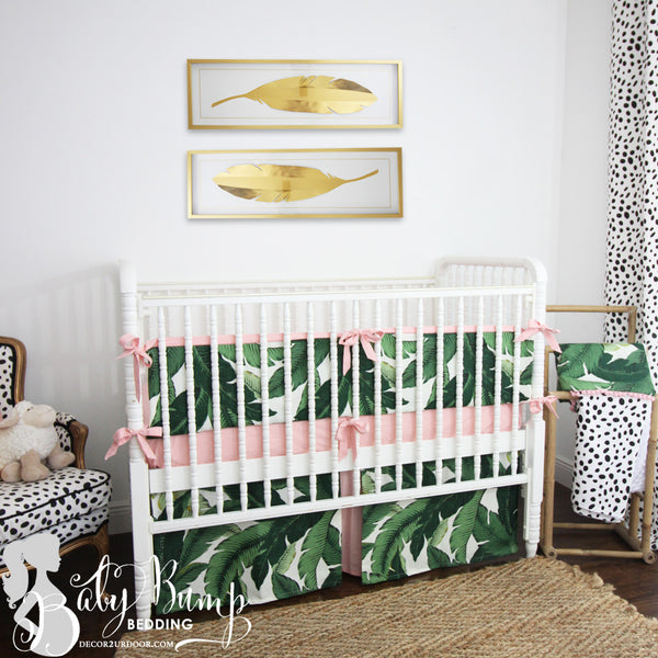 Palm Leaf Print & Blush Pink Baby Girl Crib Bedding Set