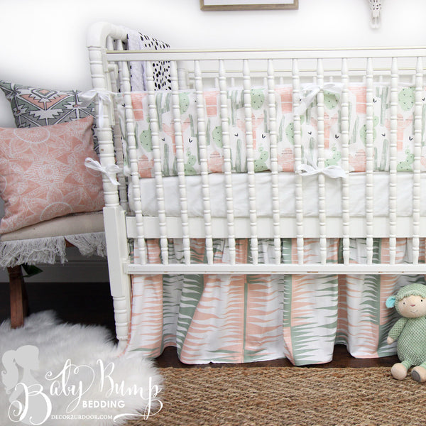 Peach & Green Cactus Gender Neutral Crib Bedding Set
