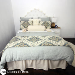 Sea Glass & Ivory Ornate Designer Bedding Collection