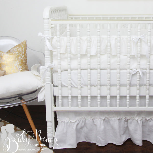 Frilly White Ruffled Gender Neutral Crib Bedding Set