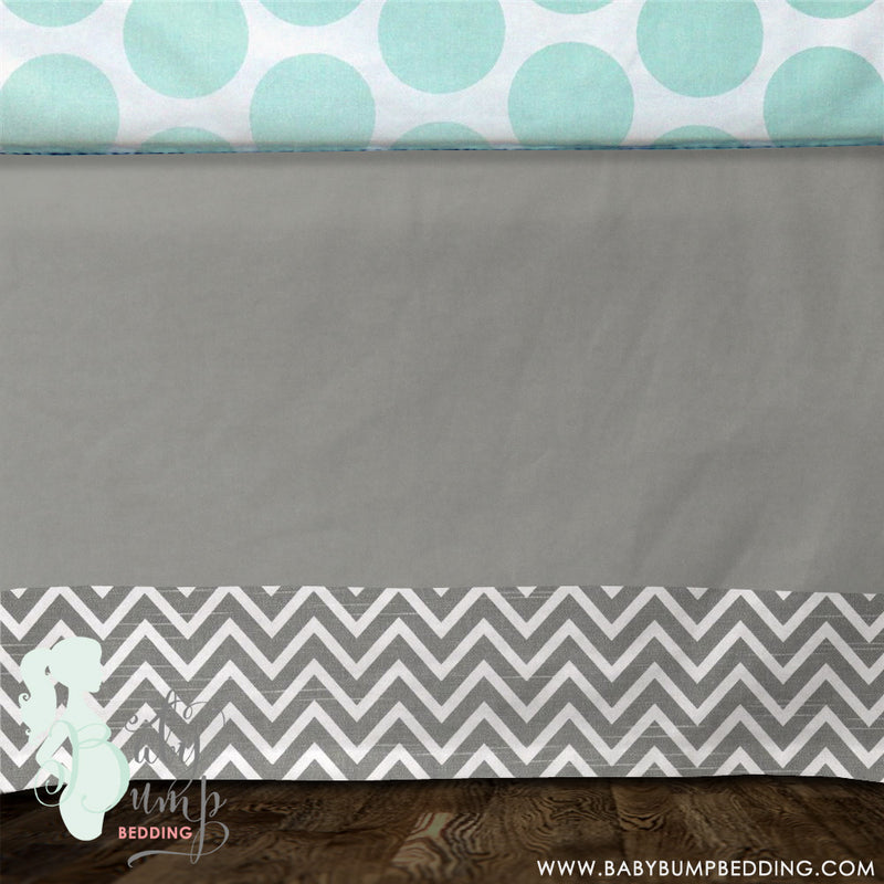 Solid Grey & Chevron Baby Crib Skirt