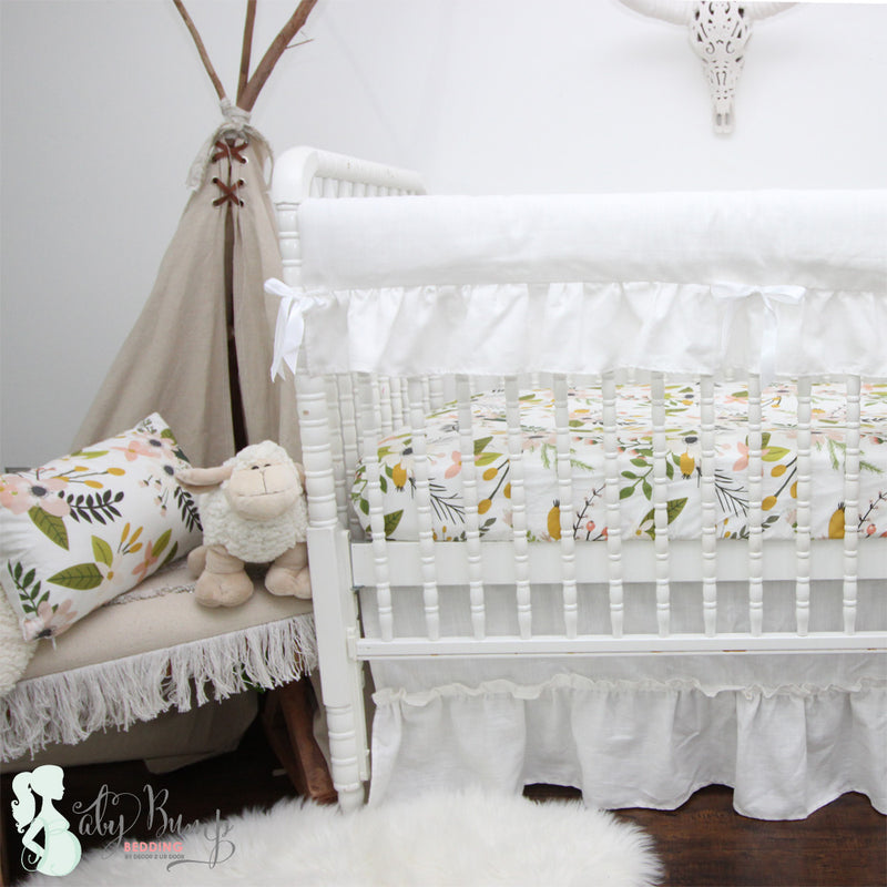 860b18d17da87 Boho Floral Woodland Baby Girl Crib Bedding Set | Bohemian Nursery ...