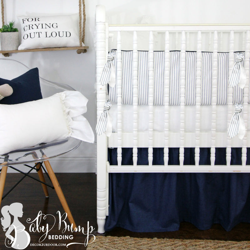 Farmhouse Navy & White Ticking Stripe 2-in-1 Crib Bumper/Rail Cover