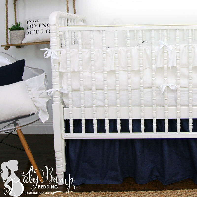 Frilly White Ruffled 2-in-1 Crib Bumper/Rail Cover