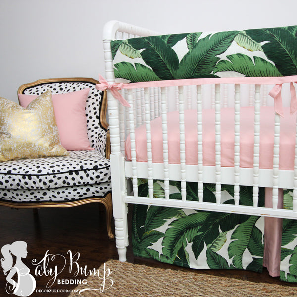 Palm Leaf Print & Blush Pink 2-in-1 Crib Bumper/Rail Cover