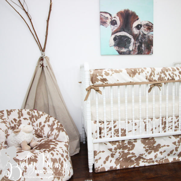 Tan Cowhide Baby Crib Rail Cover