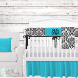 Tiffany Blue & Black Baby Girl Crib Bedding Set