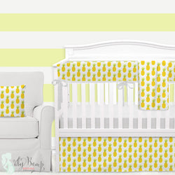 Watercolor Pineapple Baby Girl Crib Bedding Set