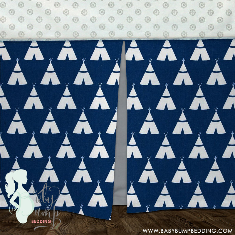 Navy Blue Teepee Baby Crib Skirt