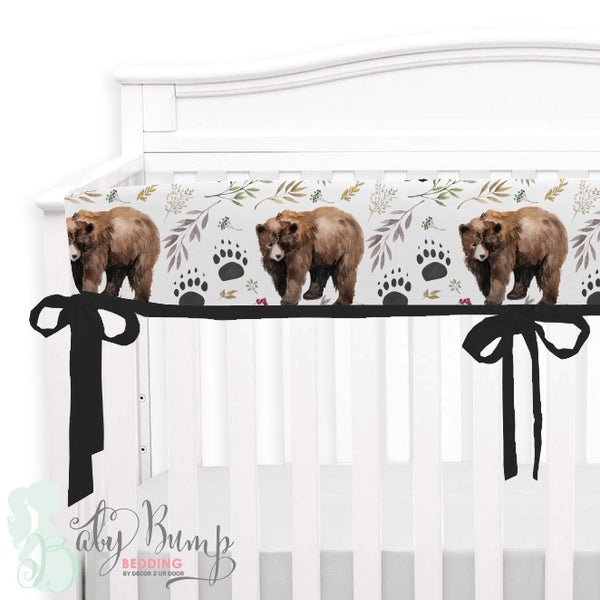 Adventure Woodland Bear Cub Baby Crib Rail Cover