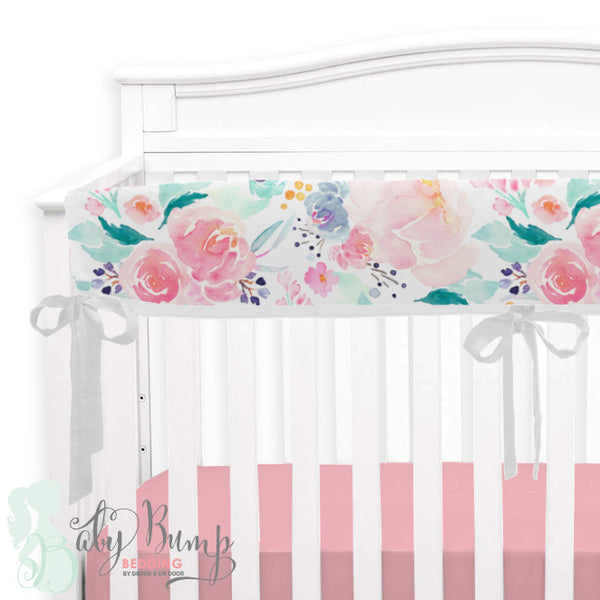 Bright & Beautiful Watercolor Floral 2-in-1 Crib Bumper/Rail Cover