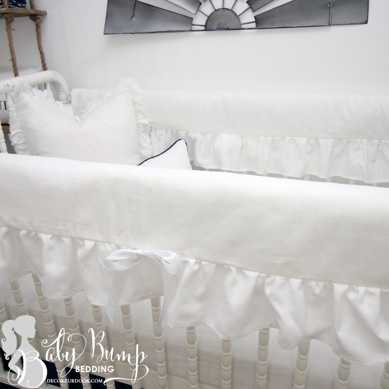 Frilly White Ruffled Baby Crib Rail Cover