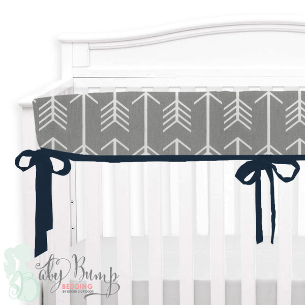 Grey Arrows & Navy 2-in-1 Crib Bumper/Rail Cover