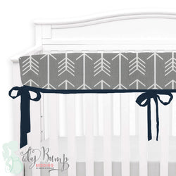 Grey Arrows and Navy Baby Crib Rail Cover