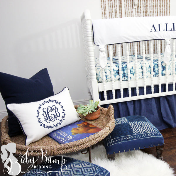 Solid White & Navy Trim Lumbar Nursery Throw Pillow Cover