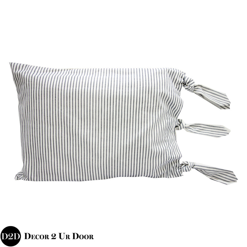 Navy & White Ticking Stripes & Ties Sham
