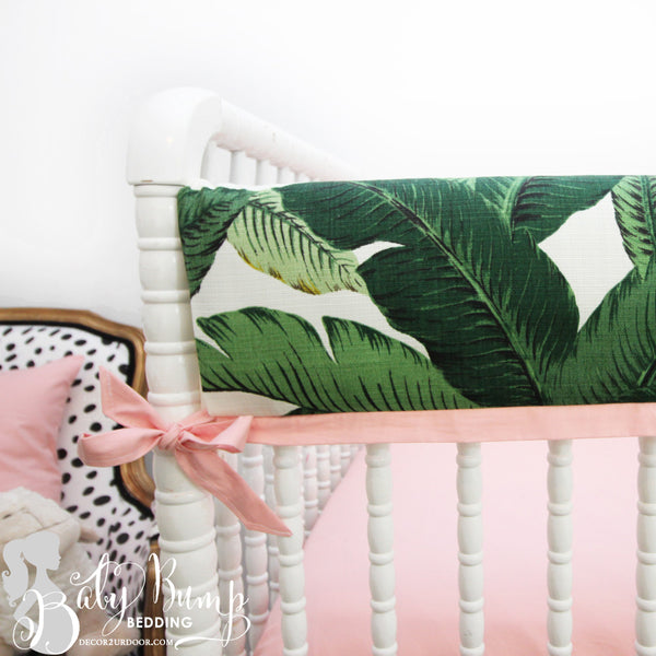 Palm Leaf Print & Blush Pink Baby Crib Rail Cover