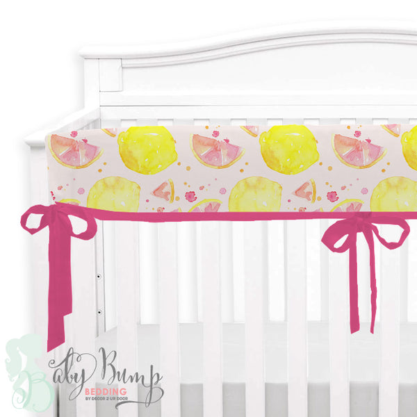 Watercolor Pink Lemonade Baby Crib Rail Cover