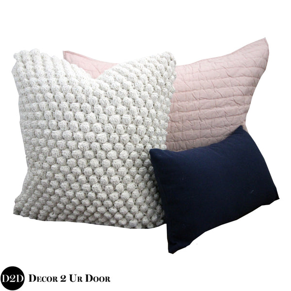 Navy & Blush Pink Pillow Pile