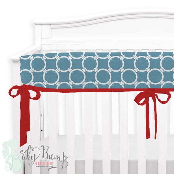 Red and Light Blue Baby Crib Rail Cover