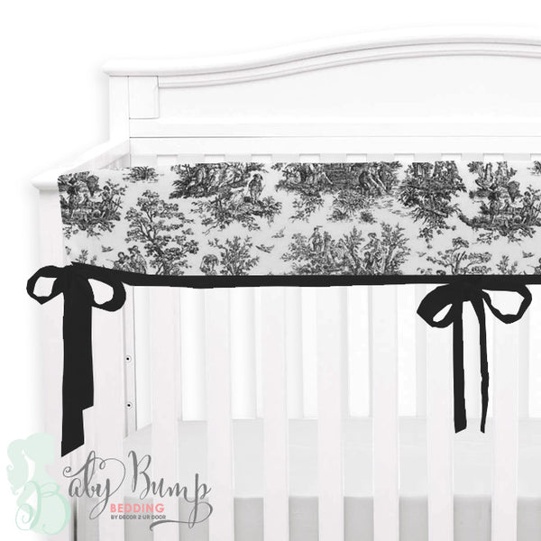Shabby Chic Black & White Toile Baby Crib Rail Cover