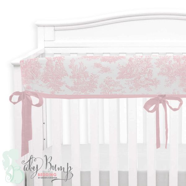 Shabby Chic Pink Toile Baby Crib Rail Cover