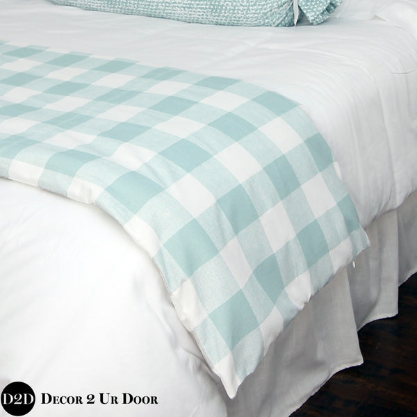 Spa Blue Gingham Plaid Bed Scarf