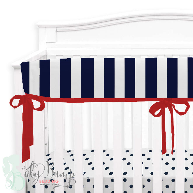 Blue, Red & White Stripes Baby Crib Rail Cover