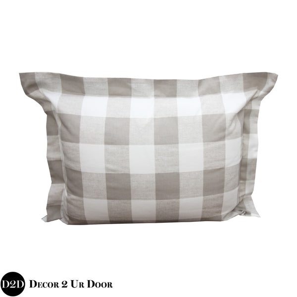 Tan Gingham Plaid Sham