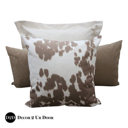 Tan Cowhide Print Pillow Pile
